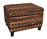 BIRDROCK HOME Woven Seagrass Storage Ottoman - with Safety Hinges