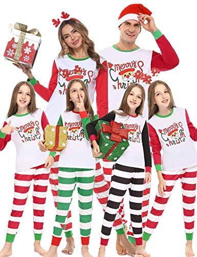 Abollria Weihnachten Schlafanzug Familie Weihnachtspyjama lang Fun-Nachtwäsche Baumwolle Pyjama Set Gedruckt Nachtwäsche Zweiteiliger für Damen, Herren, Kinder