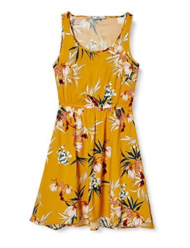 ONLY Damen Onlnova Life S/l Sara AOP WVN Dress Kleid, Golden Yellow-Devon, 36