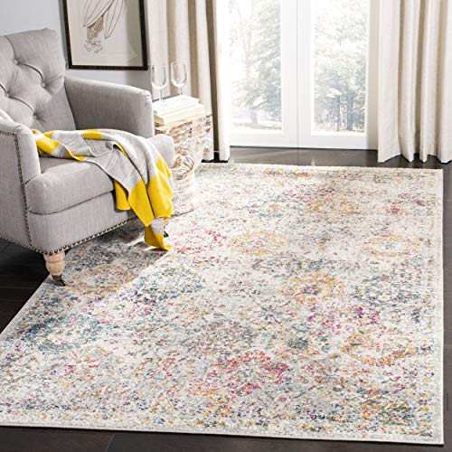 """Safavieh Madison Collection MAD611F Bohemian Chic Vintage Distressed Area Rug, 6' 7"""" x 9' 2"""", Grey/Gold"""
