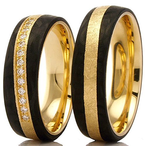 Trauringe 585/- Apricotgold mit Carbon Eheringe F-01360-060 - Gold Carbon