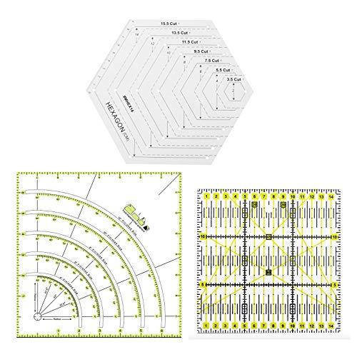 Juego de 3 reglas de costura, arcos y abanico, cortador de círculos y reglas de formas hexagonales, regla de bricolaje para patchwork, plantilla de acrílico transparente para medir el corte