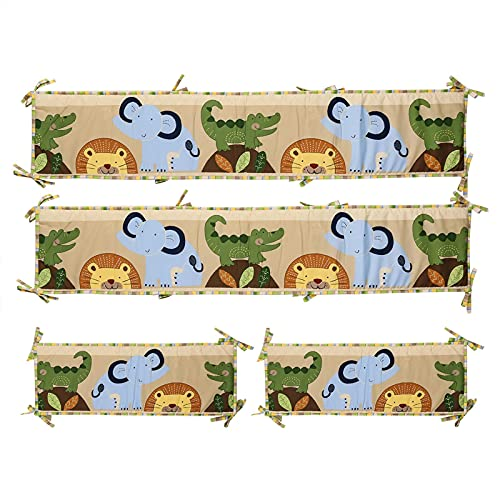 monshop 4 Pieces Protector Cuna Chichonera Cojin Protector Cuna 100 Algodón Revestimiento De Cunas Durable Y Ligero Parachoques Cuna Bebe 130 25 Cm