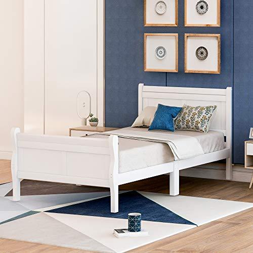 Festnight Wood Platform Bed Twin Bed Frame Mattress Foundation Sleigh Bed with Headboard/Footboard/Wood Slat Support