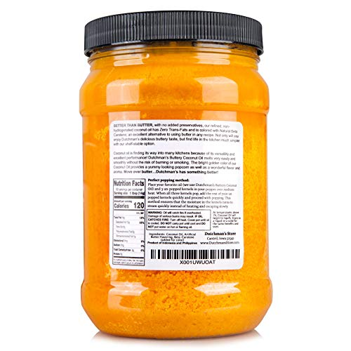 Product Image 3: Dutchman's Popcorn Coconut Oil Butter Flavored Oil, 30oz Jar – Colored with Natural Beta Carotene, Makes Theater Style Popcorn, Top Rated, Vegan, Healthy, Zero Trans Fat