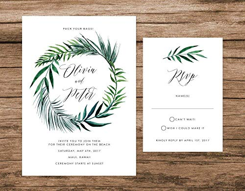 Tropical Leaves Wedding Invitation, Palm Leaves Wedding Invitation, Destination Wedding Invite