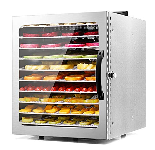 Moongiantgo Commercial Food Dehydrator Machine 10 Trays Stainless Steel Fruit Dehydrator 1000W Electric Food Dryer 24 Hours Digital Timer Temperature Control for Food Jerky Herbs Fruits Vegetables (10 Trays)