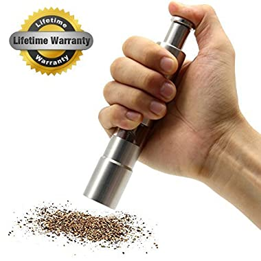 Pepper Grinder, AmazeFan Stainless Steel Pepper Mills for Grains, Spices, One Handed Operation, Table Seasoning Grinders, Lifetime Full Refund Guarantee