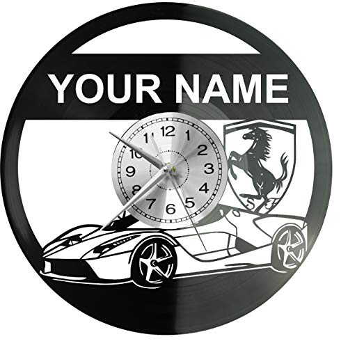 WoD Ferrari - Reloj de Pared de Vinilo, diseño Retro, Grande