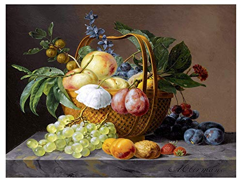 Still Life with Fruit and Flowers in A Basket by Anthony Oberman Plum Gooseberry Accent Tile Mural Kitchen Bathroom Wall Backsplash Behind Stove Range Sink Splashback One Tile 8'x6' Ceramic, Glossy
