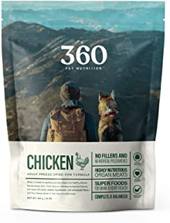 360 Pet Nutrition Freeze Dried Raw Complete Meal for Adult Dogs, Chicken Formula 16 Ounce