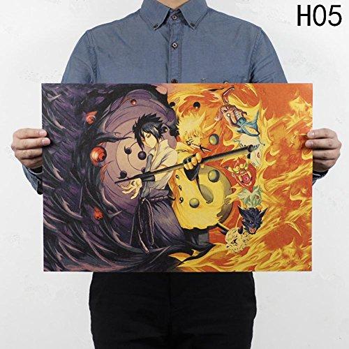 Loheag Clinor Naruto Shippuuden Poster, Anime Fanartikel Manga Poster | Uzumaki Naruto/Uchiha Madara/Uchiha Sasuke/Uchiha Obito | Wasserdicht Anti-Fade für Außenbereich/Garten/Badezimmer H05