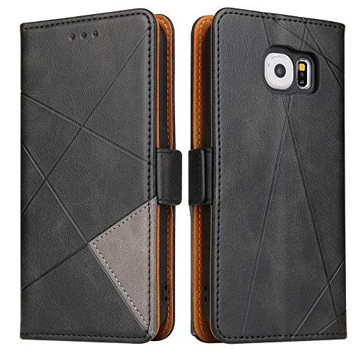 BININIBI Handyhülle für Samsung S6 Hülle, Galaxy S6 Lederhülle Handytasche, Klapphülle Tasche Leder Schutzhülle für Samsung Galalxy S6, Schwarz