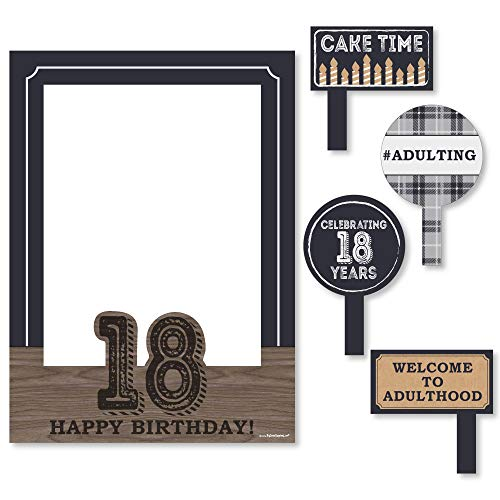Big Dot of Happiness 18th Milestone Birthday - Time to Adult - Birthday Party Selfie Photo Booth Picture Frame & Props - Printed on Sturdy Material