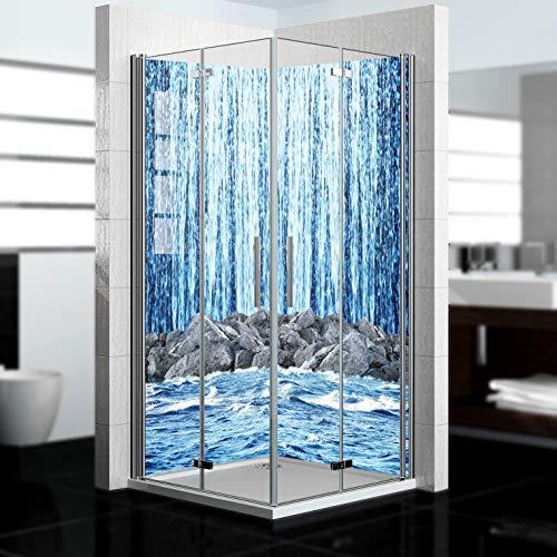 dedeco Eck-Duschrückwand wasserfest mit Wasserfall V14 Motiv - 2 x 90x200 cm, als Badrückwand zum Fliesenersatz, als Dekorwand, Wandverkleidung und Duschplatte aus Aluminium - Made in Germany