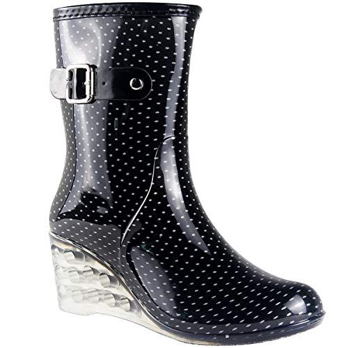 Wealsex Mujer Cuñas Cuatro Estaciones Moda Botas De Lluvia Transparente Zapatos De Agua Cremallera Lateral con Hebilla Antideslizantes Botas Impermeable (Negro y pequeño Punto,38)