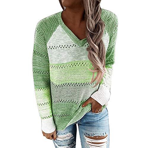 Moda Sudaderas Jersey Sweater Suéter con Capucha De Retazos con Cuello En V para Mujer, Suéter De Punto De Manga Larga Informal, Suéter Elegante A Rayas, Suéter M Green6