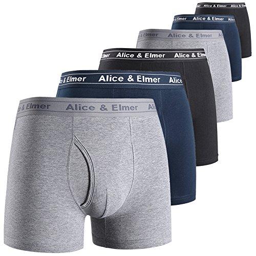 Alice & Elmer Men's Underwear Tagless Soft Stretch Cotton Boxer Briefs(1-6Pack)