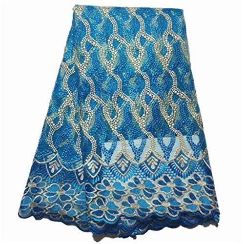 PENVEAT Afrikanisches Spitzegewebe 2019 Qualitätsspitze Himmel blau Netto-Spitze Stoff mit gestickten wulstigen französisch Spitze für Parteikleid, XS851112F07