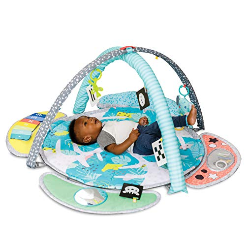 Infantino 5-in-1 Epic Developmental Learning Gym - 3 Play Modes, 5 Must-Have Baby Basics, Prop-Up Bolster, On-The-Go Activities, High Contrast Flashcards, Adjustable/Removable Arches, 32