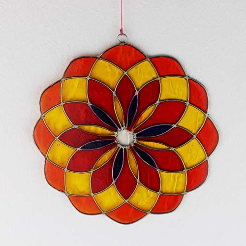 mitienda mit Liebe gemacht Fensterdeko Mandala, Fensterschmuck rot-gelb, Handmade, Deko, handgemachte Fenster Deko
