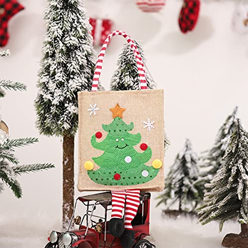VDSOIUTYHFV Bolsas para Navidad, Bolsas de Mano Reutilizables con asa y muñeco de Nieve Patrón de árbol de Reno de Papá Noel