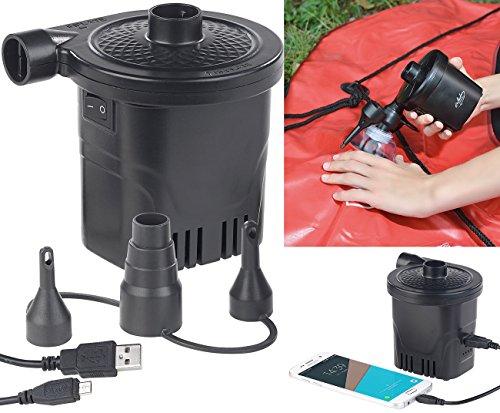 infactory Akkupumpe: 2in1-Akku-Luftpumpe mit Powerbank-Funktion & USB-Ladekabel, 250 l/Min (Luftballonpumpe)