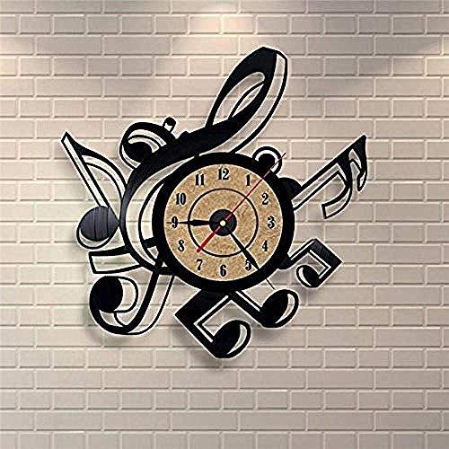 Wyxy Nota Creativa Reloj de Pared con Disco de Vinilo decoración Moderna para el hogar Personalidad Retro decoración de la Sala Hecho a Mano para él y Ella