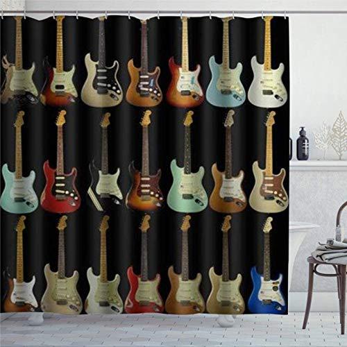 EricauBird Duschvorhang Musikinstrument Gitarre Duschvorhang mit Ringen Polyestergewebe Duschvorhänge mit Haken Bad Badezimmer Dekor