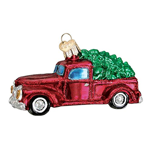 Old World Christmas Planes, Trains, Helicopters, Boats Glass Blown Ornaments for Christmas, Old Truck with Tree