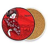 Japanische Geisha Mädchen Runde saugfähige Keramik Stein Getränke Untersetzer Kaffee Tassen Matten-Set für Home Office Bar Küche (Set von 1 Stück), keramik, multi, 4er-Set