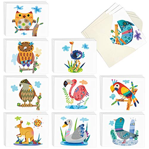 Box of 30 Blank Watercolor Note Cards with Envelopes - All Occasion Blank Greeting Cards (4 x 5.12 Inch) - Cute Animal Thank You Notecard (10 Designs, 3 Each) (Colorful animals)
