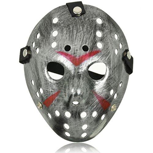 Ultra Silber Masken Kostüm Halloween Horror Gruselig Schaurig Erwachsene Kinder Mann Frau Freddy Gesichtsmaske vS Cosplay Eishockey
