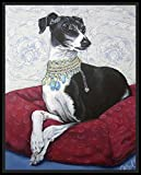 Italian greyhound seated on red cushion - fine art print