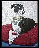 Italian greyhound seated on red cushion - fine art print