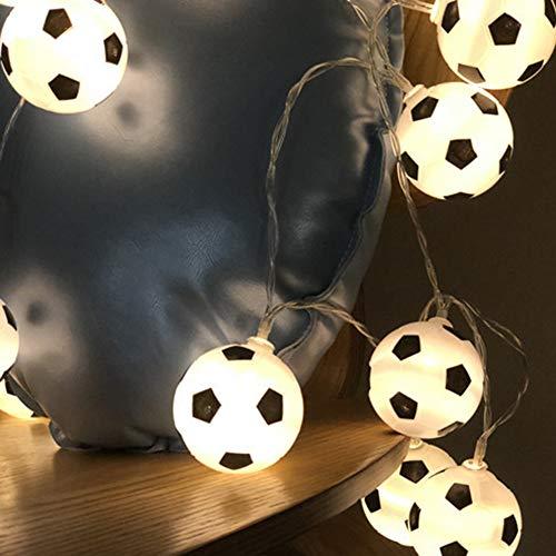 Asdomo 20 LEDs Football String Lights World Cup Soccer Ball Night Light Garlands Decor Kids Bedroom Party Xmas Holiday Light