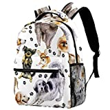 LORVIES Thoroughbred Dogs Chihuahua Pug Paws Watercolor Canine Footprints Casual Backpack School Bag Travel Daypack