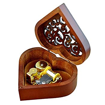 FnLy Antique Engraved Wooden Wind-Up Musical Box,You are My Sunshine Musical Box,with Gold-Plating Movement in,Heart-Shaped