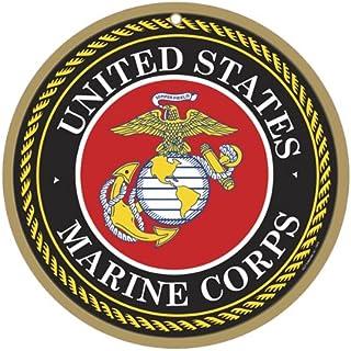 "SJT ENTERPRISES, INC. US Marines Logo 10"" Round Wood Plaque Sign (SJT15416)"