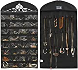 MISSLO Hanging Jewellery Organiser Wardrobe Necklaces Earrings bracelets Accessories Storage Holder 32 Pockets 18 Loops, Black