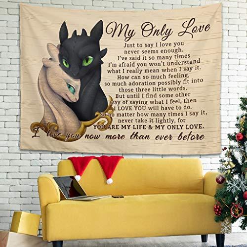 shengmengshi My Only Love Dragon - Tapiz multicolor para colgar en la pared, con arte y decoración del hogar, para sala de estar, dormitorio, color blanco, 101,6 x 149,9 cm