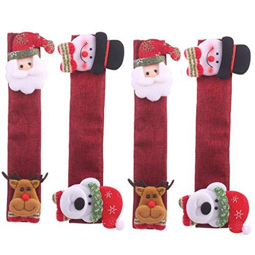 Juego de fundas para manijas de puerta de frigorífico, diseño de Papá Noel, muñeco de nieve, utensilios de cocina, para frigorífico, microondas, horno y lavavajillas, para el hogar