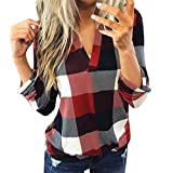 Aunimeifly Female Plaid T-Shirts Casual V-Neck Blouse Ladies Long Sleeve Tops Women's Lapel Neck Shirt Baggy Top(5XL,Wine)