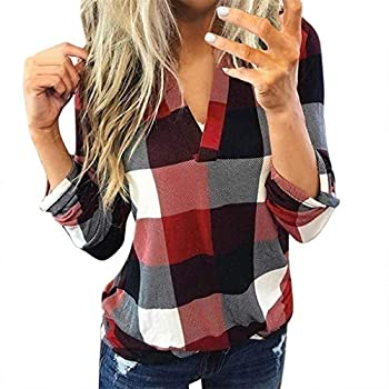 Aunimeifly Female Plaid T-Shirts Casual V-Neck Blouse Ladies Long Sleeve Tops Women s Lapel Neck Shirt Baggy Top S,Wine
