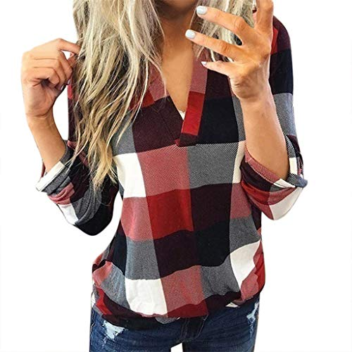 Aunimeifly Female Plaid T-Shirts Casual V-Neck Blouse Ladies Long Sleeve Tops Women's Lapel Neck Shirt Baggy Top(S,Wine)
