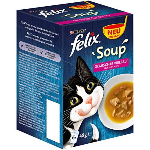 Felix Katzenfutter Soup Gemischte Vielfalt mit Rind, Huhn, Thunfisch, 8er Pack (8x 6x 48g) Portionsbeutel