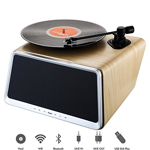 HYM Seed Smart Turntable Audio Station with 80Watt HiFi Speakers Smart 5-in-1 Vinyl Records Player for LP Vinyl Records Built in Bluetooth WiFi AUX-in USB Port Ethernet w/Remote Natural White Oak