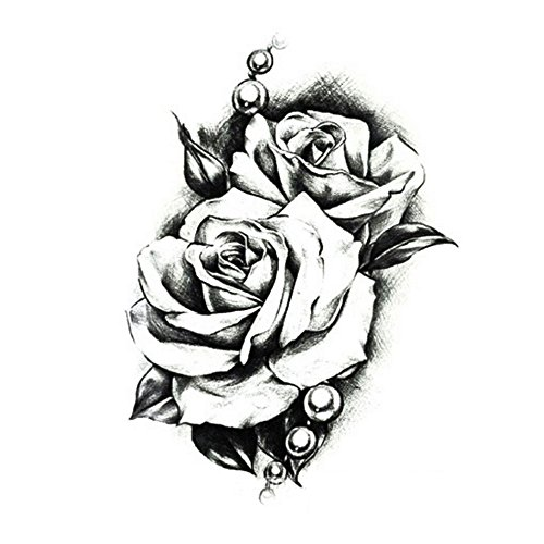 Pinzhi Tatouage temporaire autocollant 3D amovible étanche Bras de rose Corps noir 10,5 x 15 cm