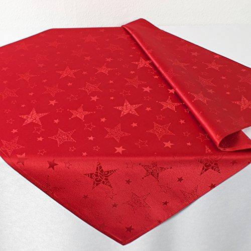 Kamaca Lotus Effekt Tischdecke Magic Stars mit Sternen Motiv - mit FLECKSCHUTZ - Flüssigkeiten perlen einfach ab Winter Weihnachten (Mitteldecke 85x85 cm, Rot)