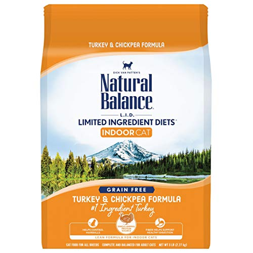 Natural Balance L.I.D. Limited Ingredient Diets Dry Cat Food for Indoor Cats, Turkey & Chickpea Formula, 5 Pounds, Grain Free